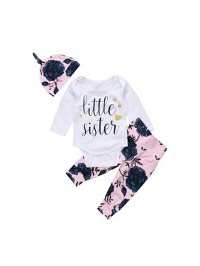 259c930ce869e Product Image Little Sister 3PCS Newborn Toddler Baby Girls Top Romper  Bodysuit + Floral Long Pants + Hat