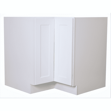 "Cabinet Mania White Shaker - LS36 - Lazy Susan Corner Base Cabinet 36"" Wide RTA Kitchen Cabinet - Ready to Assemble - 100% All Wood Construction, Lowest Price Onlin"
