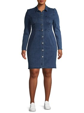 Alivia Ford Women's Plus Size Long Sleeve Collared Button Front Denim Dress