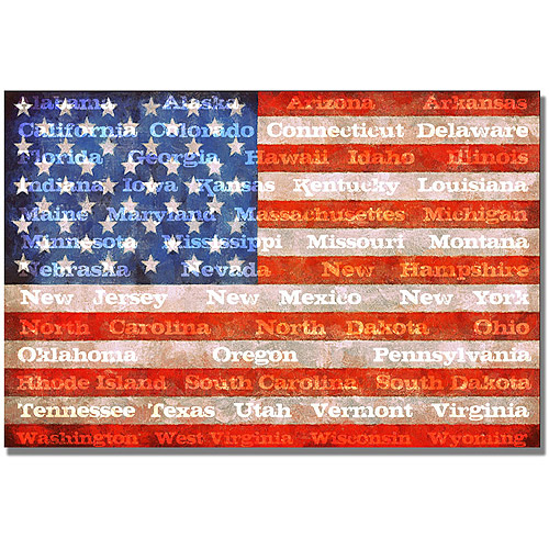 "Trademark Fine Art ""American Flag with States"" Canvas Wall Art by Michelle Calkins"