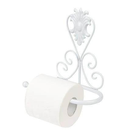White Toilet Paper Holder, Vintage Iron Toilet Paper Towel Roll Holder Bathroom Wall Mount Rack Stand for Bathroom