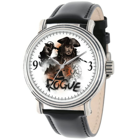 (Disney Pirates of the Caribbean 5 Captain Jack Sparrow Men's Antique Silver Vintage Alloy Watch, Black Leather Strap)