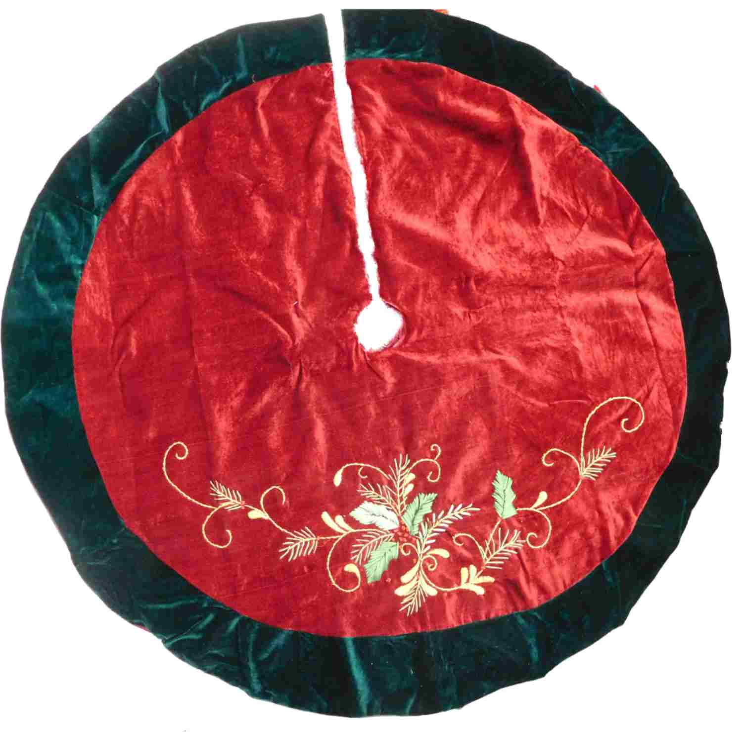 Red & Green Christmas Tree Skirt With Embroidered Holly With Berries & Leaves