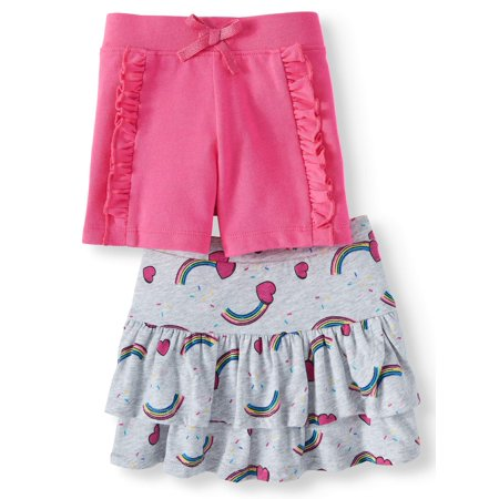 365 Kids From Garanimals Skort and Ruffle Short, 2-Pack (Little Girls & Big Girls)