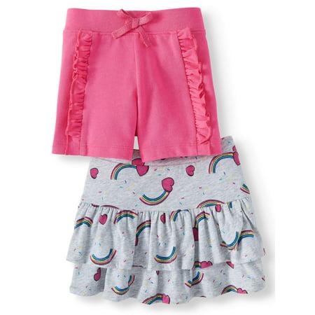 365 Kids From Garanimals Skort and Ruffle Short, 2-Pack (Little Girls & Big Girls) - Girls Skort Skirt Shorts