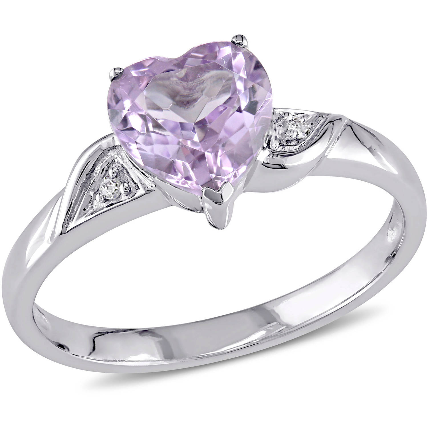 Tangelo 1 Carat T.G.W. Amethyst and Diamond-Accent 10kt White Gold Heart Ring