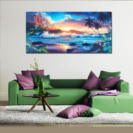Unframed Home Decor Canvas Print Painting Wall Art Modern Sunset Scenery Beach Tree Gift ()
