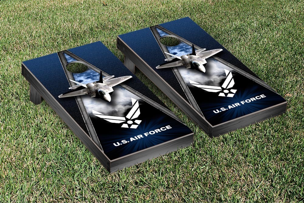 US Air Force F 22 Cornhole Game Set Triangle Version by Victory Tailgate