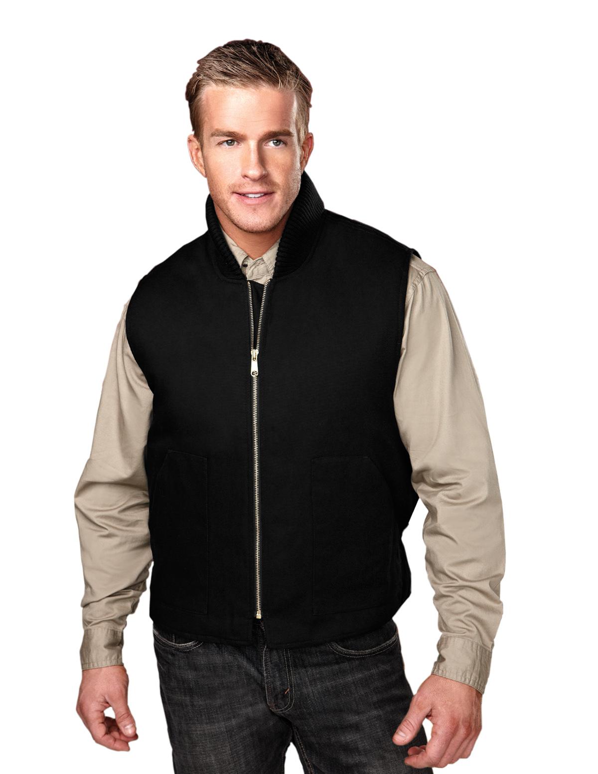 Tri-Mountain Lodestar 4400 Cotton Canvas Vest, 2X-Large, Black/Black/Black