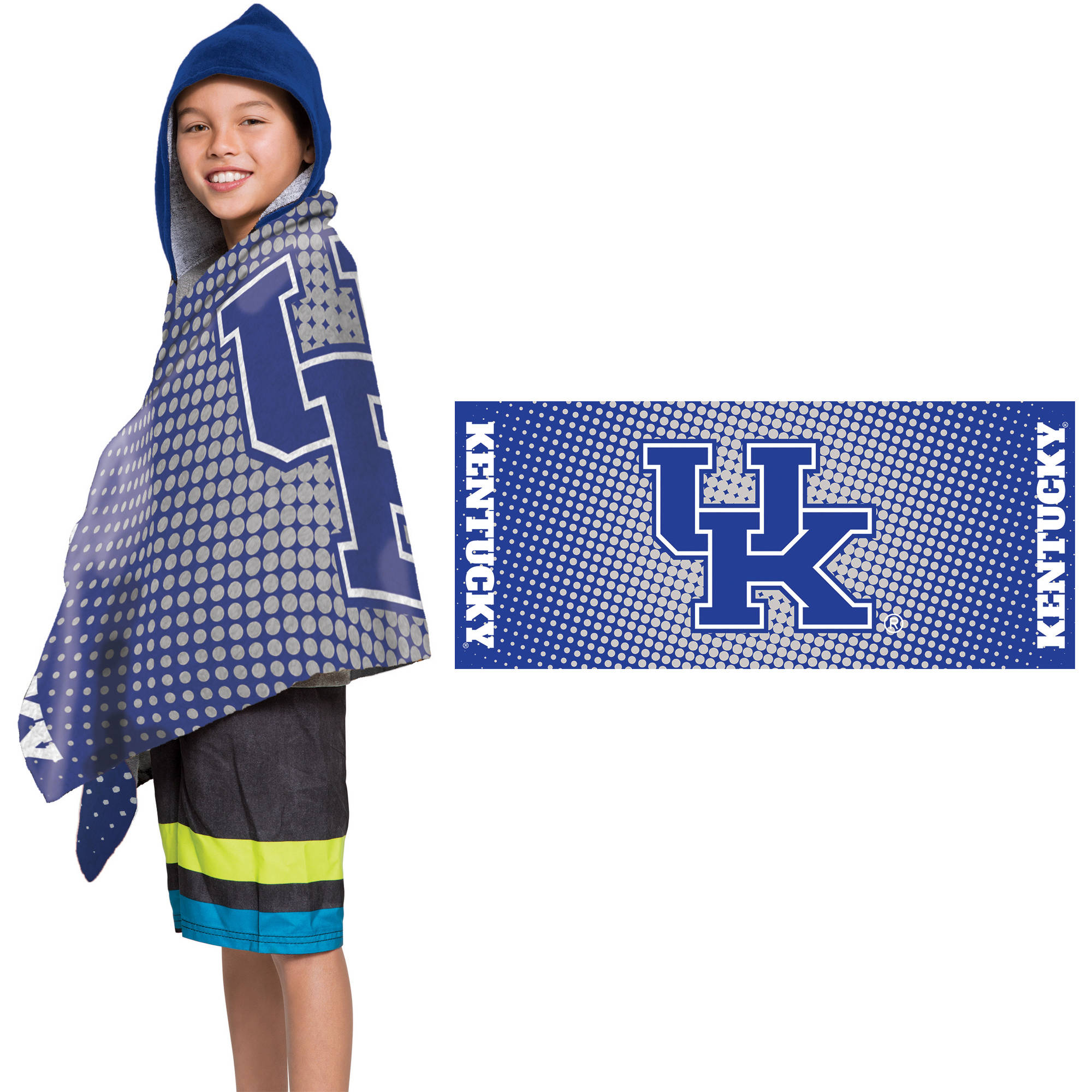 """NCAA Kentucky Wildcats """"Dots"""" Youth Terry Cloth Hooded Wrap Towel, 1 Each"""