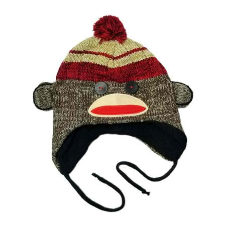 Men's Sock Monkey Peruvian Pom Trapper Beanie Stocking Cap Hat