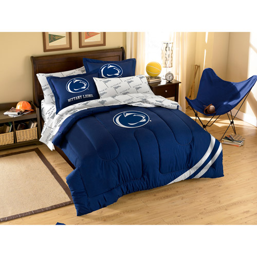 NCAA Applique Bedding Comforter Set with Sheets, Penn State