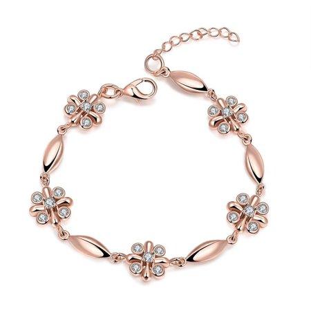 18K Rose Gold Rose Petals Emblem Bracelet with Swarovski Elements