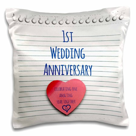 3dRose 1st Wedding Anniversary gift - Paper celebrating 1 year together - first anniversaries - one yr - Pillow Case, 16 by