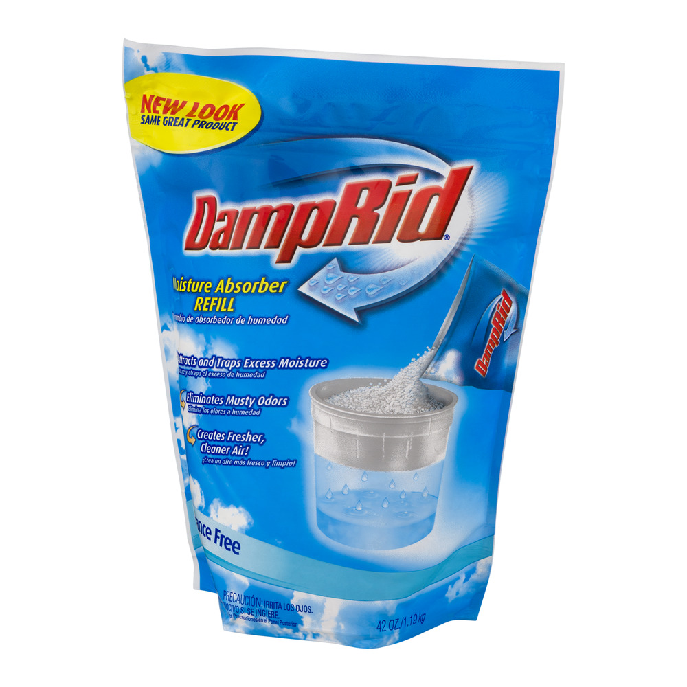 Damp Rid is a very simple product. It is mostly made of anhydrous calcium chloride. The chemical is what they call deliquescent, meaning that it absorbs so much moisture from the air that it dissolves.