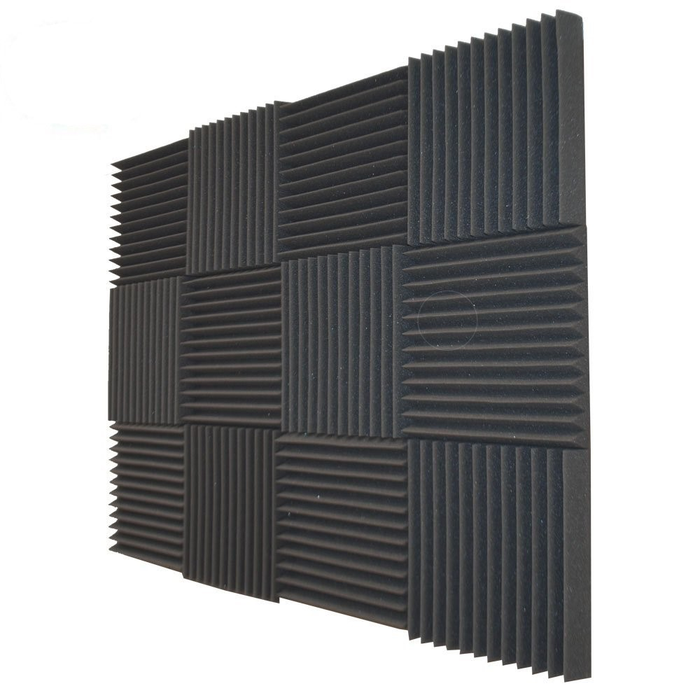"12 Acoustic Foam Tiles Wall Record Studio Sound Proof 12""x 12""x 1"" Fire Resistant Panels"