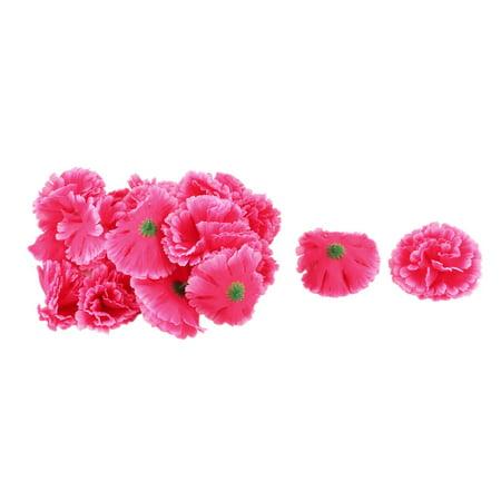 Wedding Fabric Artificial Carnation Flower Heads DIY Craft Decor Fuchsia 20pcs - image 3 de 3