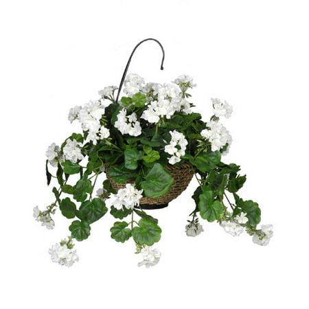 house of silk flowers inc artificial geranium hanging plant in basket. Black Bedroom Furniture Sets. Home Design Ideas