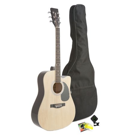 Steel String Natural Finish Dreadnought (Fever Dreadnought Cutaway Acoustic Guitar Natural with Bag, Tuner and Strings )