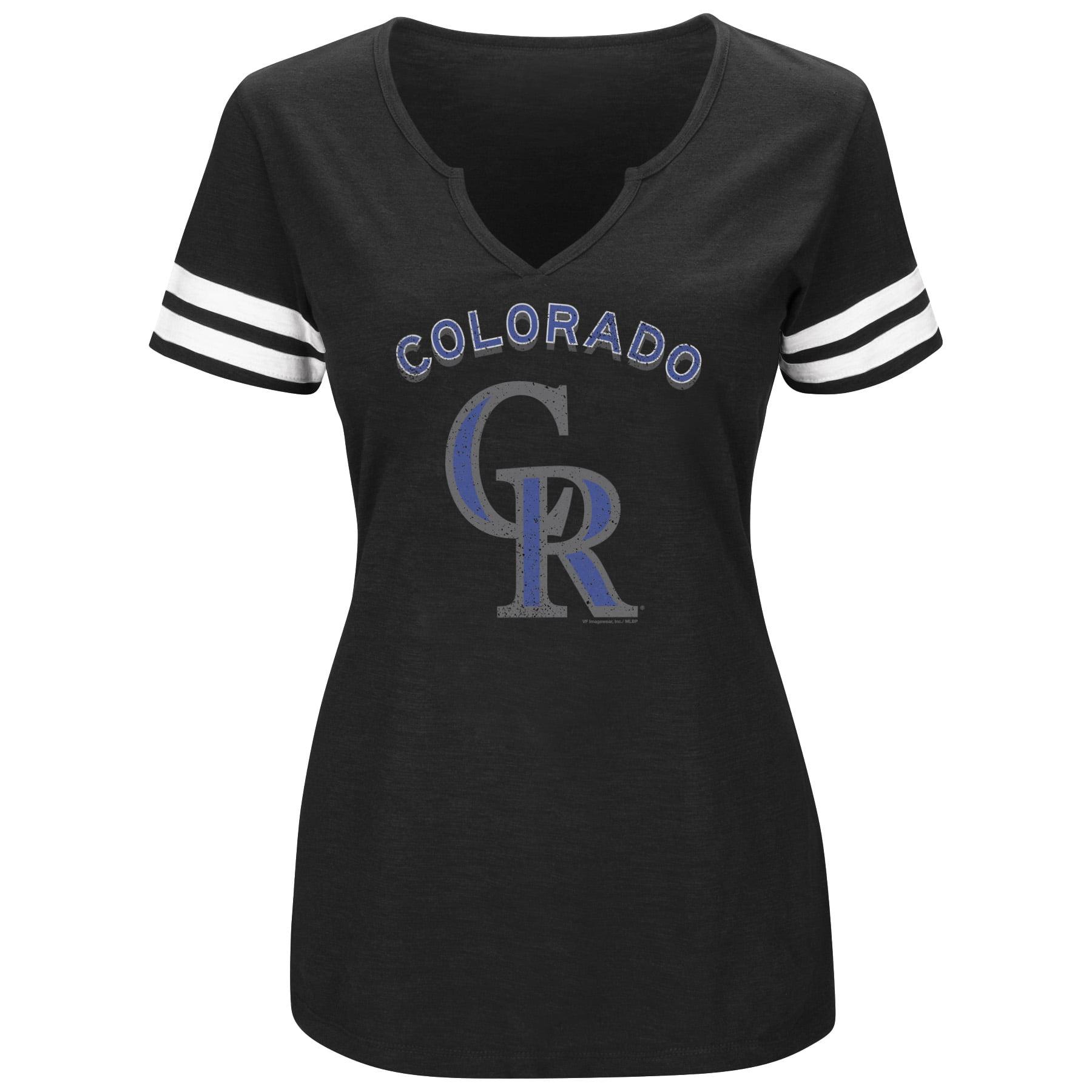 Women's Majestic Black/White Colorado Rockies Decisive Moment V-Notch T-Shirt