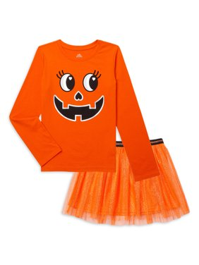 Halloween Girls Graphic Top and Tutu Skirt Outfit Set, 2-Piece, Sizes 4-18