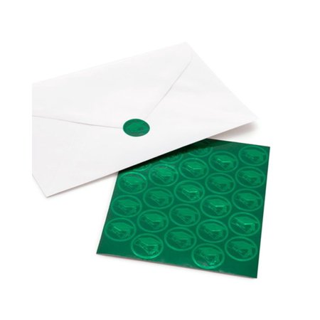 Graduation Envelope Seals (Gartner Studios Green Grad Cap Foil Envelope Seals, 25)