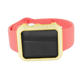Yellow Gold Finish Apple Watch Real Diamond Pink Rubber Bracelet Mens 3.0 Carat by