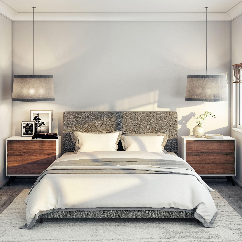 Grey Mid Century Modern Upholstered