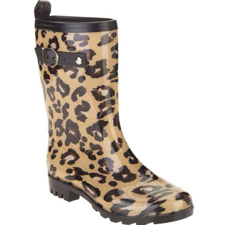 Women's Leopard Spot Printed Mid-Calf Jelly Rain Boots