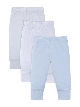 Little Star Organic Baby Boy Newborn Essentials Knit Pants, 3-Pack