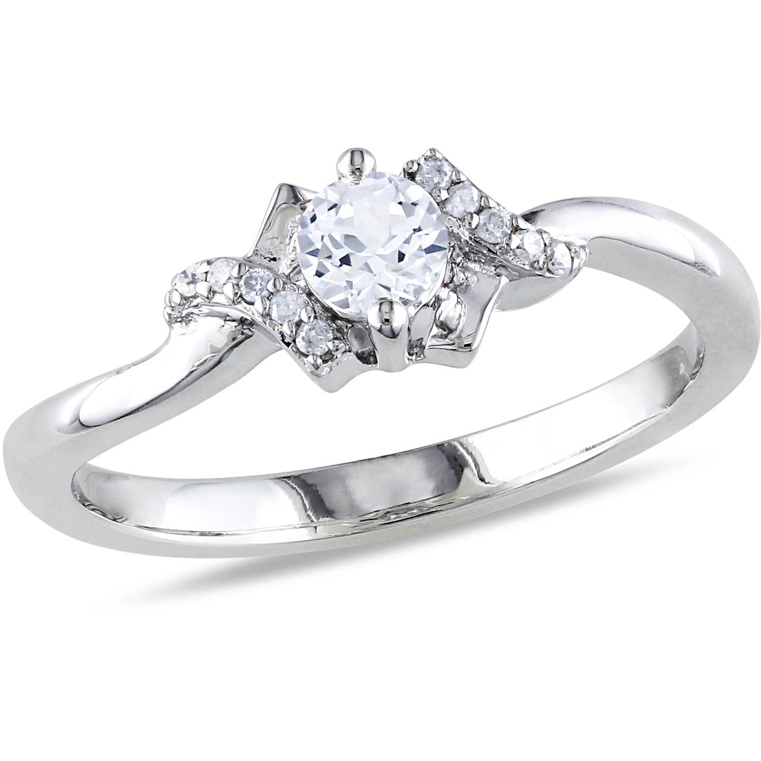 Miabella 1/3 Carat T.G.W. Created White Sapphire and Diamond-Accent Sterling Silver Promise Ring