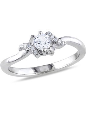 4cce677da Product Image 1/3 Carat T.G.W. Created White Sapphire and Diamond-Accent  Sterling Silver Promise Ring