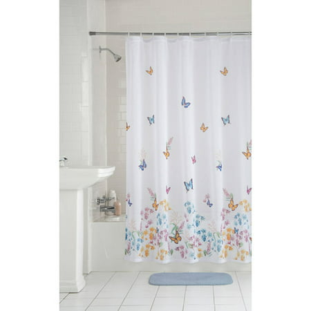 Mainstays Butterfly Fabric Shower Curtain
