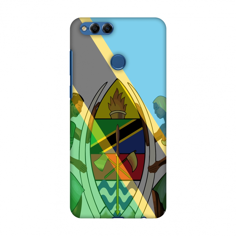 Huawei Honor 7X Case, Premium Handcrafted Printed Designer Hard Snap on Shell Case Back Cover with Screen Cleaning Kit for Huawei Honor 7X - Coat of arms- Tanzania flag