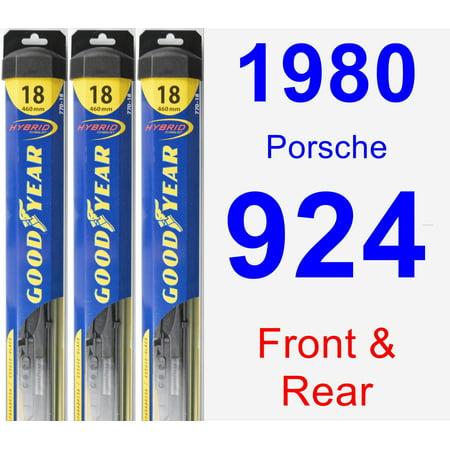 1980 Porsche 924 Wiper Blade Set/Kit (Front & Rear) (3 Blades) - Hybrid