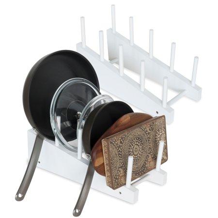 Wooden Countertop - Free-Standing Wooden Cookware Cutting Board 4-Slot Kitchen Storage Countertop Organizer Rack Set of 2 White