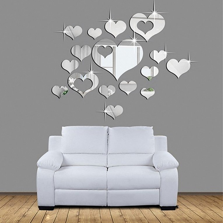 16pcs Romantic Love Hearts Decor Home Room Mirror Wall Stickers Decals DIY by LL
