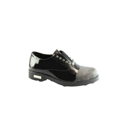 Liyu Adult Black Contrast Cap Toe Studded Slip-On Oxford Shoes