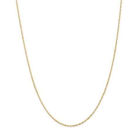 14k Yellow Gold Solid Spring Ring Sparkle-Cut 1.10mm Singapore Chain Necklace - Length: 14 to 30