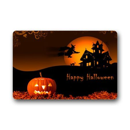 WinHome Happy Halloween Pumpkin Bat Moon Doormat Floor Mats Rugs Outdoors/Indoor Doormat Size 23.6x15.7 inches - Floor 5 Halloween 100 Floors