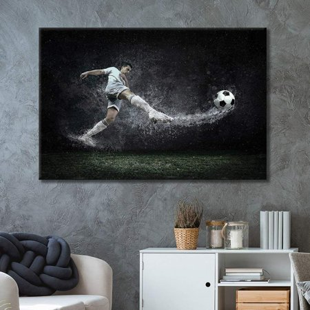 wall26 - Canvas Wall Art Sports Theme - Man Kicking Soccer Power - Giclee Print Gallery Wrap Modern Home Decor Ready to Hang - 12x18 inches
