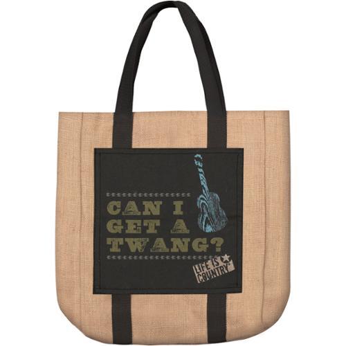 "16.5"" Burlap ""Can I Get a Twang"" Country Western Shopping Tote Bag"