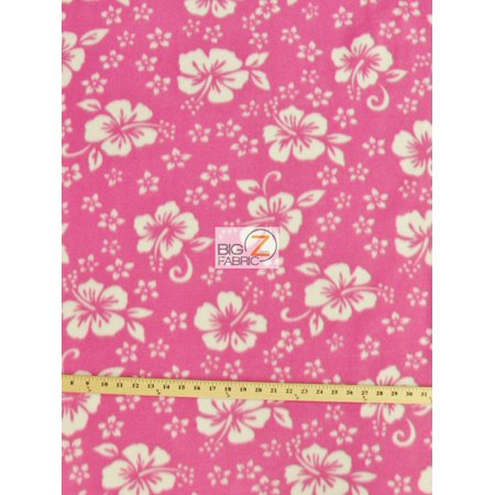 Fleece Printed Fabric Flower Hawaiian / Pink / Sold By The -