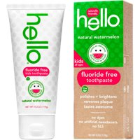 Hello Naturally Friendly Natural Watermelon Fluoride Free Kids Toothpaste, 4.2 oz