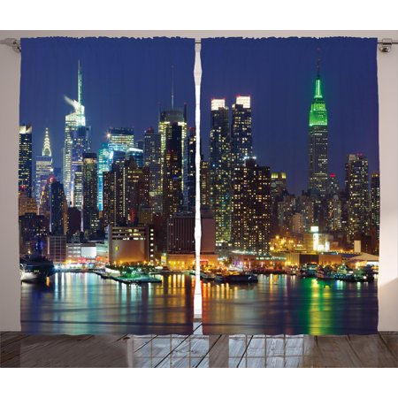 New York Curtains 2 Panels Set, NYC Midtown Skyline in Evening Skyscrapers Amazing Metropolis City States Photo, Window Drapes for Living Room Bedroom, 108W X 84L Inches, Royal Blue, by Ambesonne