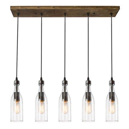 LNC Wood Pendant 5 Ceiling Linear Chandelier Kitchen Island Light Fixtures, Brown