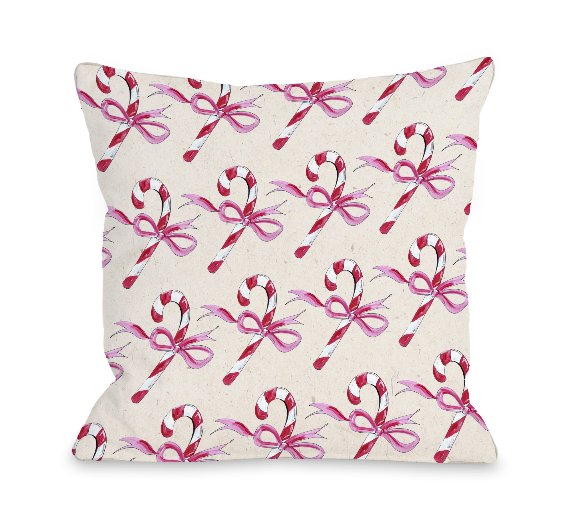 Candy Cane Bows - Beige Pink 16x16 Pillow by Timree