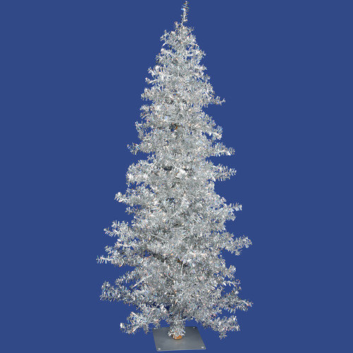 Vickerman Co. Silver Wide Cut Tree 7.5' Artificial Christmas Tree with 300 Clear Mini Lights with Stand