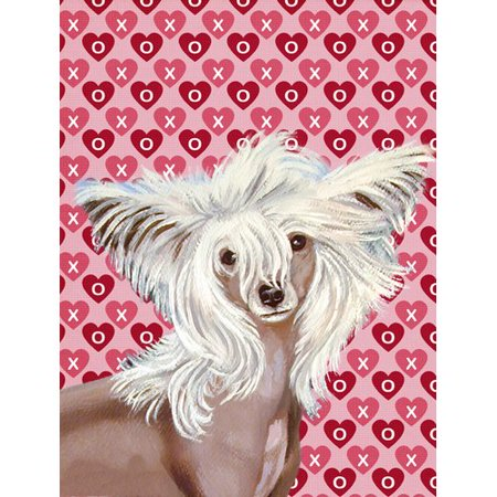 Chinese Crested Hearts Love and Valentine's Day Portrait Flag