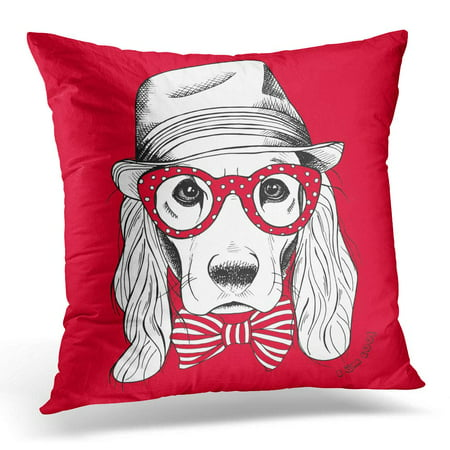 ECCOT Black Cool Portrait of Dog with Long Ears in Elegant Hat Tie and Glasses on Red White Pillowcase Pillow Cover Cushion Case 16x16 (Ear Cushions For Glasses)